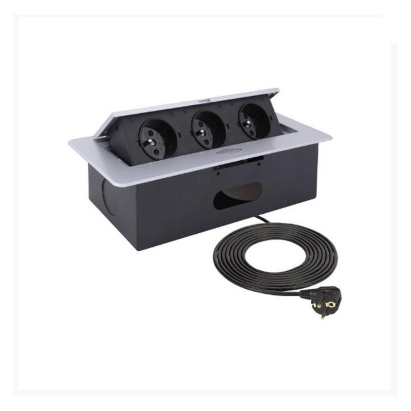 Gniazdo meblowe wpuszczane w blat KOMBI BOX aluminium 3x230V Design Light