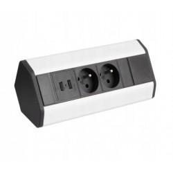 Corner Box USB 2 gniazda narożne + 2x USB